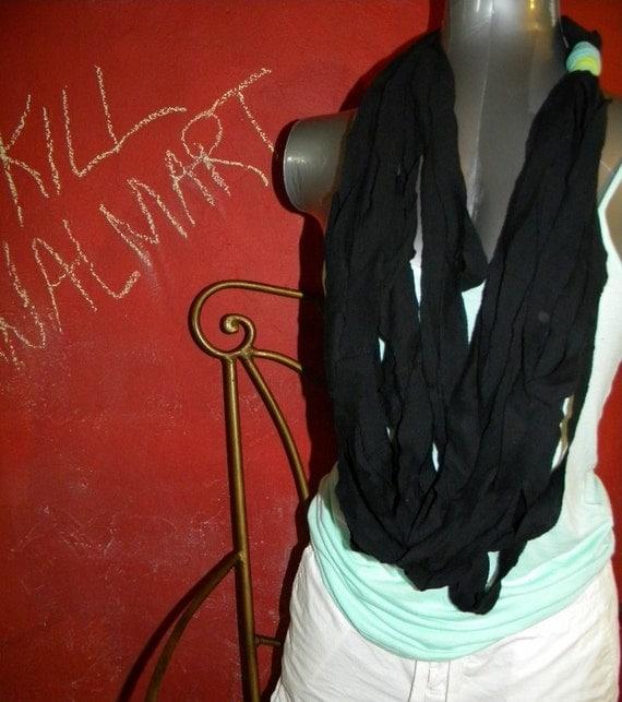 Recycled Black Fabric  Infinity Scarf  Headband  Hairband Turban