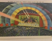 vintage postcard Radio City Music Hall New York City antique textured beautiful condition