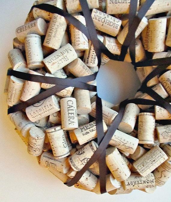 Wine Cork Wreath with Brown Ribbon - Christmas Wedding Gift Fall Autumn Home Wall Decor