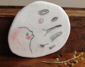 """Porcelain brooch / Small wall piece 9 : """"Beauty in each piece of nature"""" handmade original painting"""
