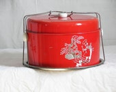 Vintage Metal Double Pie and Cake Carrier in Bright Red Retro Backyard BBQ