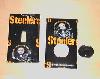 Pittsburgh Steelers Set Light Switch Toggle Cover Plate and 1 Outlet includes child safety plugs