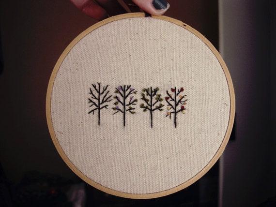 embroidery hoop art - the seasons