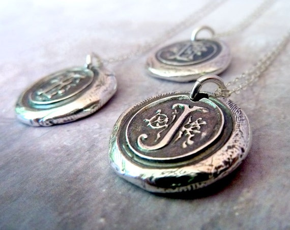 Personalized Wax Seal Initial Necklace. Monogram Letter Jewelry. Fine Silver Pendant