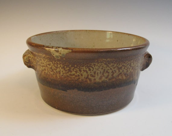 Brown and Cream Round Stoneware Bread Baker, Casserole, or Serving Dish - Ready to Ship