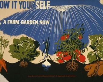WPA IMAGE grow it yourself plan a farm garden today. Vintage image.