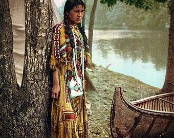 Vintage image of Mineehaha American Indian / canoe river circa 1904 art