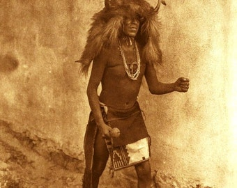 Vintage image of  a Zia Dancer. Native American Indian Dancer vintage image reproduction print