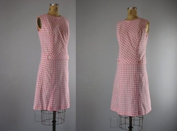 1960s dress set // gingham scooter set  // Beechwood 4- 5789