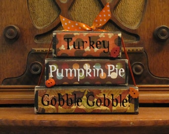 "Turkey, Pumpkin Pie, Gobble Gobble Thanksgiving Word Stacker Fall and Thanksgiving Sign Decor, Measures 4.5"" tall x 5.5"" wide"