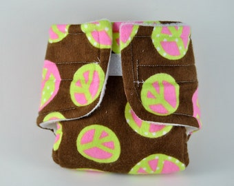 Baby Doll Diaper - Peace Sign - Size Large