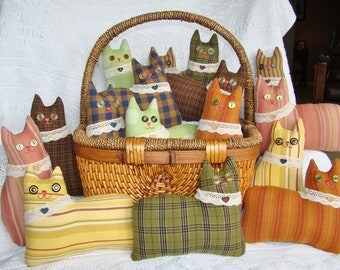 Homespun Cat Pincushion and Basket Filler