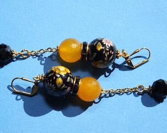 "3"" 1/4 L Japanese Tensha bead, Yellow agate stones dangle earrings, Oriental Ideas"
