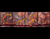 SMOKEY FIRE - Original 64 Inch Abstract Art Painting by RENFIELD