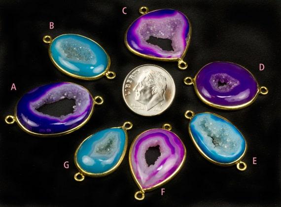 Druzy Connector, Drusy, Blue, Purple, Vermeil, Agate, Geode, Gemstone Connector, Station Link, Bezel Set