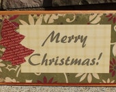 Merry Christmas -  distressed wood block - in Ivory - Free Shipping