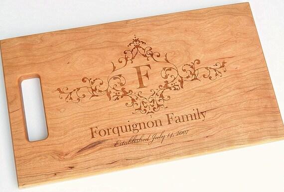 Cutting Board Personalized Cutting Board Laser Engraved Cherry 8x14 Wood Cutting Board CB814FOQ