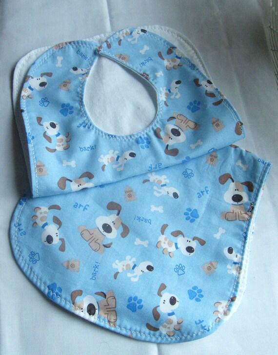 "Blue ""Bark"" Puppy Bib and Burp Cloth Set.. Ready to Ship"