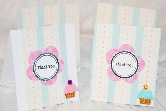 Mini Thank You Cards With Cupcakes Pink, Blue and Cream Set of 20