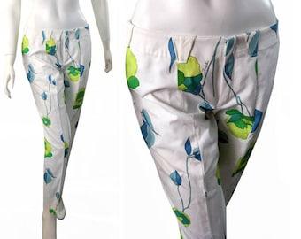 Emilio PUCCI Vintage 1970s Capri Cotton Floral Signature Print Pants Slacks Size 12