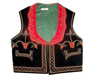 Velvet Ethnic Tribal Pakistan Pashtun Vest Coat Waistcoat Embroidered