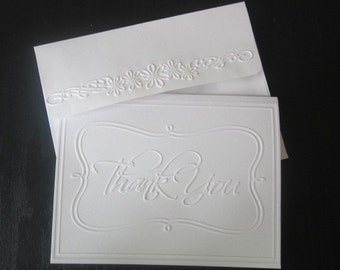 Elegant Thank you Embossed Cards Set of 25 Handmade Greeting Cards