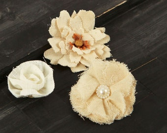 BRAND NEW: Au Naturale 562724 Vintage Style cream tan caramel ivory Fabric Flowers varying styles and sizes