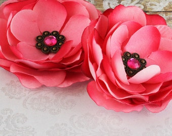 NEW: Aria Shocking Pink Large Layered vintage style Fabric Flowers with Antique Metal Medallion on Center