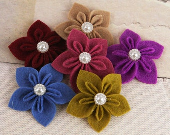 BRAND NEW : Lyrique Darks  -  Felt fabric flowers with pearl medallion embellishment center