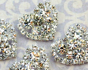 6 pieces STUNNING 23mm Sparkling Rhinestone Heart Shape Buttons Embellishment Wedding accessories, bridal brooch