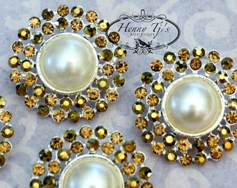 4 pieces - 25mm Silver Plated Metal BROWN QUARTZ TOPAZ Crystal Pearl Rhinestone Buttons - wedding / hair / garment accessories Flower Center