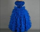 Vintage 1980s Dress . Blue Tulle . Sequins . Full Skirt . Strapless . Ruffles . XS/S . 2308