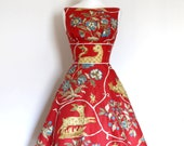 Red Fantasy Animal Print Tiffany Prom Dress - Made to Measure