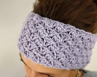 Adjustable earwarmer/headband in dusky purple