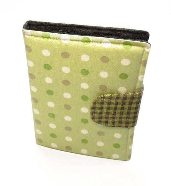 Book-style Kindle Fire (original) or Nexus 7 case cover sleeve - Polka dots gingham in green chartreuse, tan, brown, and white