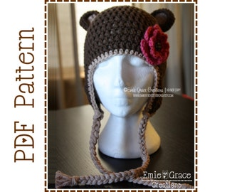 Bear Hat Crochet Pattern, 8 Sizes from Newborn to Adult, EMIE and THEODORE Ear Flap BEAR - pdf 124