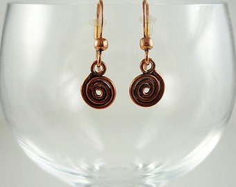 Copper Earrings Copper Spiral Earrings Copper Jewelry Copper Dangly Earrings