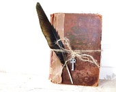 Vintage Antique Dictionary. Mirriam Webster Secondary School Dictionary. Rustic Shabby  Artifact Collectible.