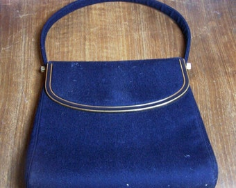 Vintage Navy Wool Hand Bag with Gold Hardware