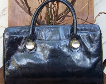 Black Leather Handbag Silver Hardware Signed Sylvie