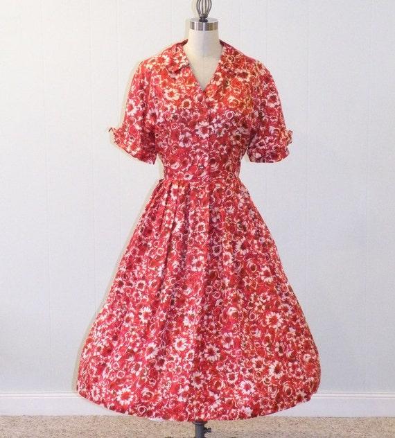 1950s Dress / 50s Dress, Red Floral Print Acetate Full Skirted Vintage Shirtwaist Rockabilly Day Dress, Garden Party, Mode O'Day, XL-XXL
