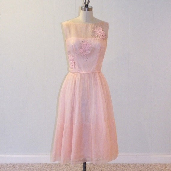 Vintage 1950s Dress, 50s Pink Organza Strapless Illusion Cocktail Wedding Party Dress, Rose Appliques Rhinestones & Beads