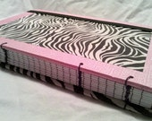 Reserved for Sarah (crazycatladie)  Zebra and Pink Lined Notebook