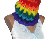 Rainbow Cowl Scarf in purple, blue, yellow, green, red, orange - MOTHERS DAY GIFT Under 25.00 Dollar