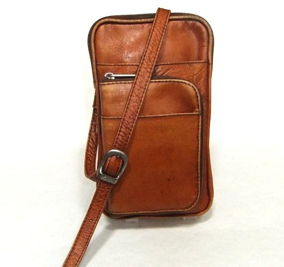 Vintage Saddle Tan All Leather Lavive Cross Body/Clutch Purse
