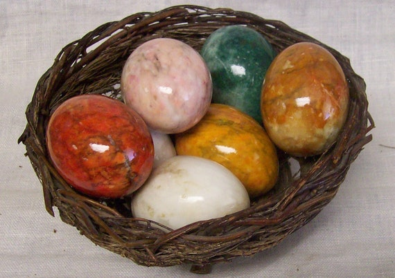 Vintage Alabaster Marble Easter Egg Set Of 8 In By