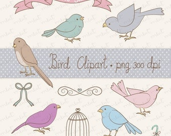 50% OFF SALE Early Bird Digital Clip art - 10 Digital clipart for for scrapbooking, card, invitation, stationery