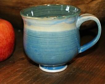 Ceramic Mug / Porcelain Mug / Blues / Green