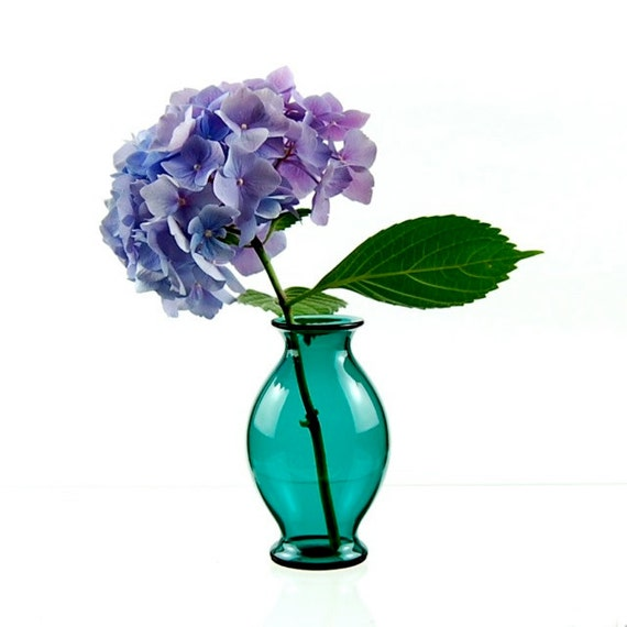 Teal Bud Vase, Hand Blown Glass