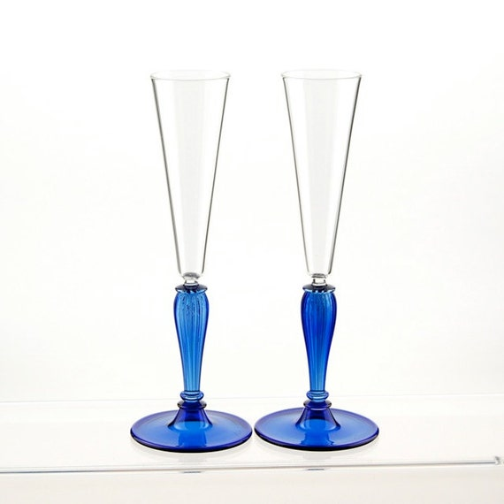 Champagne toasting glasses, Blue and Clear hand blown glass flutes
